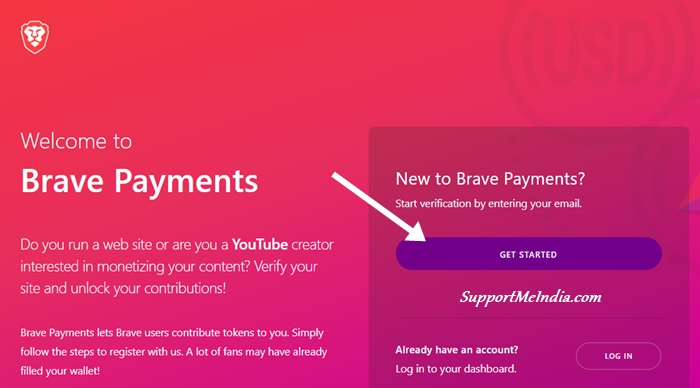 Create Account on Brave Publisher Program