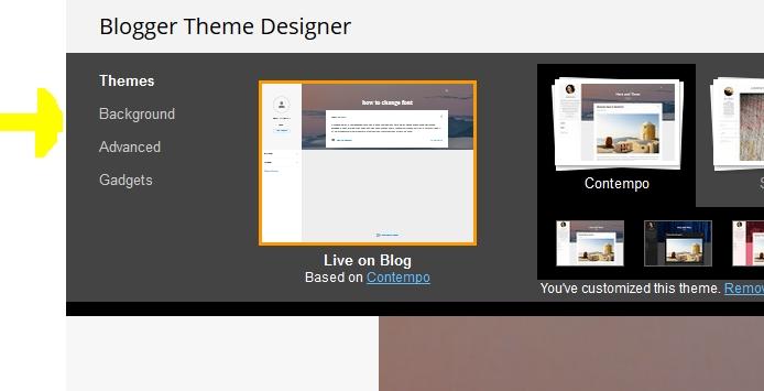 Blogger theme customizing options