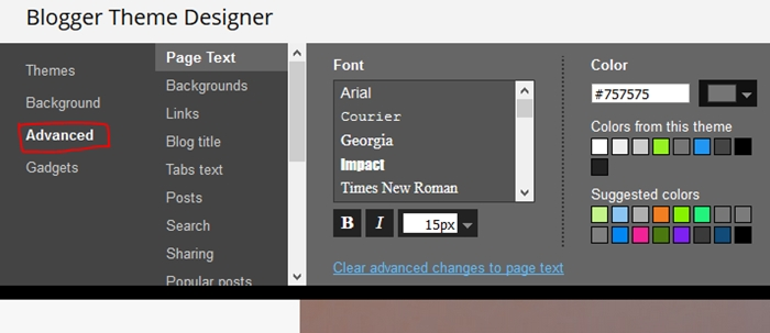 Blogger theme customizing sub options