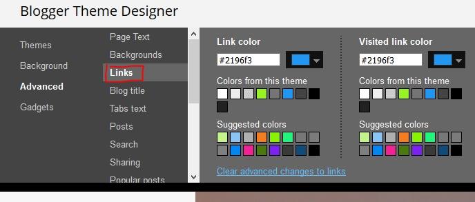 Change Blogger Links Color