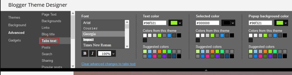 Change Blogger Tabs Font or Color