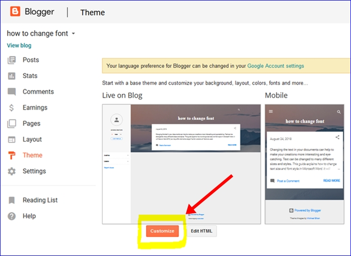 Click on customize button in blogger dashboard