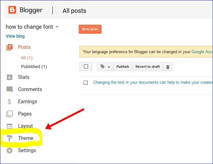Click on theme option blogger dashboard