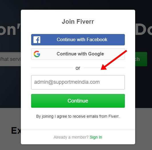 Sign up on Fiverr