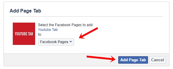 Add facebook page to youtube tab