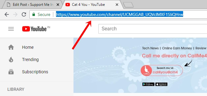 Copy youtube channel URL