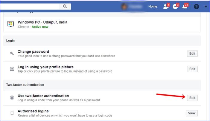 Facebook 2 step verification 3