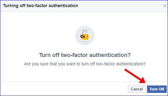 Facebook 2 step verification turn off