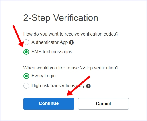 Godaddy 2 step verification receive method