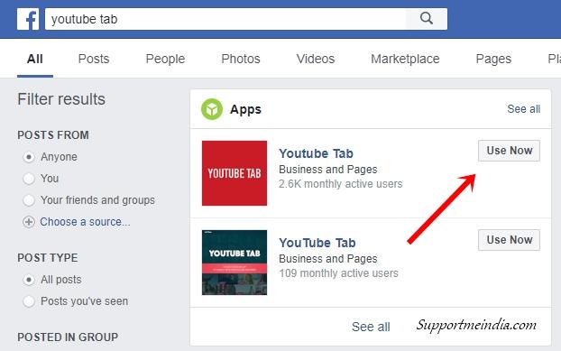 YouTube Tab on Facebook