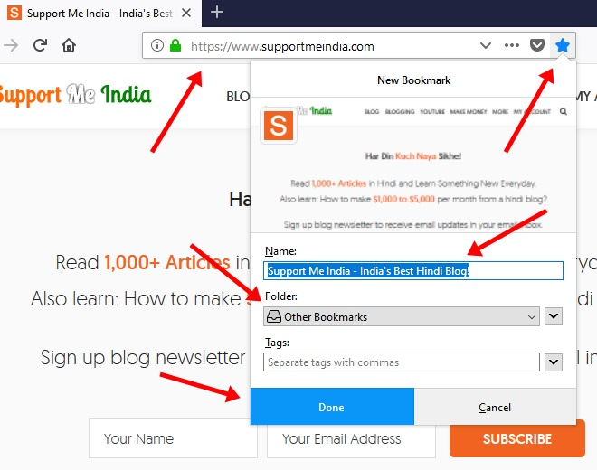 Creating Bookmark in Firefox