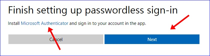 Finish setting up passwordless sign-in