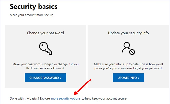 Microsoft more security options