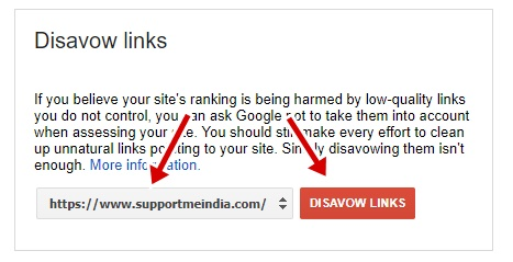 Select site to disavow