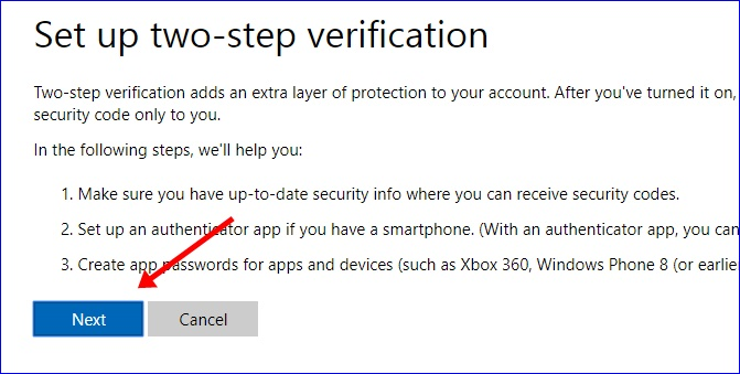 Set up two-step verification on Microsoft