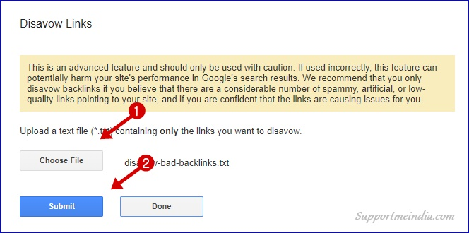 Submit Bad Backlinks list to Google Disavow