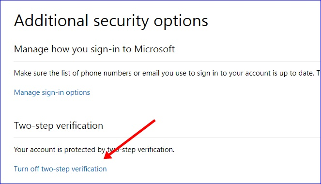Turn off two-step verification on Microsoft