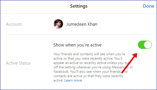 Facebook Turn Off Active Status Messenger