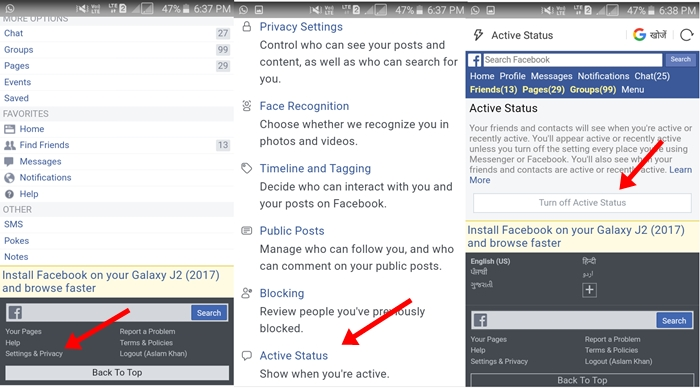 Facebook Turn Off Active Status Mobile