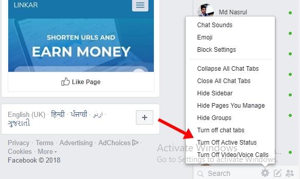 Facebook Turn Off Active Status