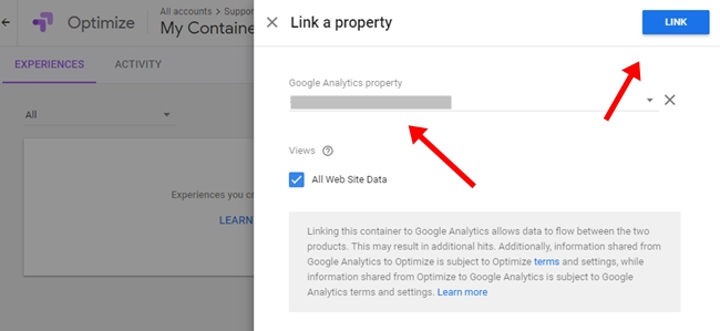Link analytics property to google optimize
