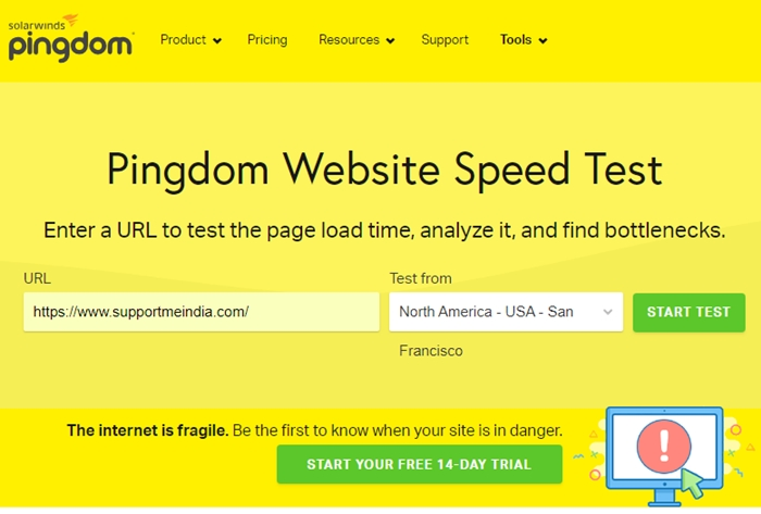 Pingdom - Website Speed Test Tools