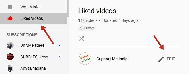 YouTube liked videos