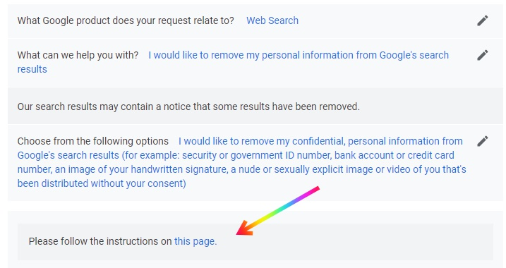 Delete Personal Details from Google