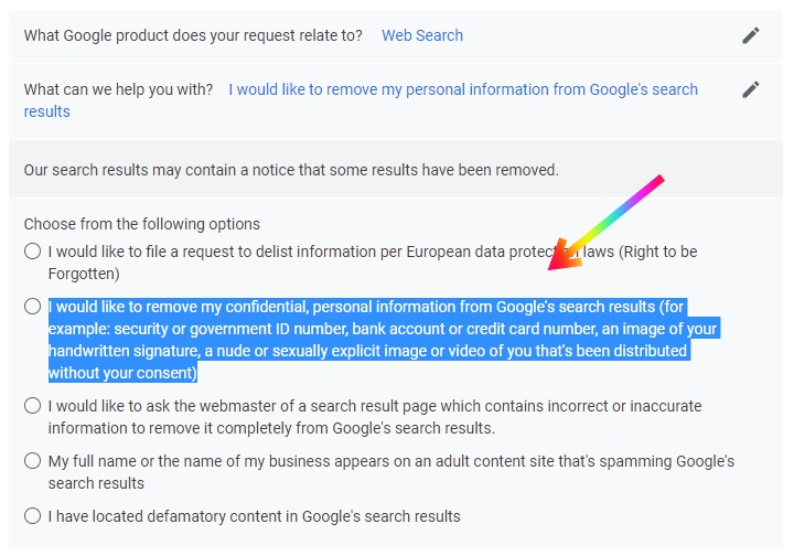 Delete Personal Information from Google Search
