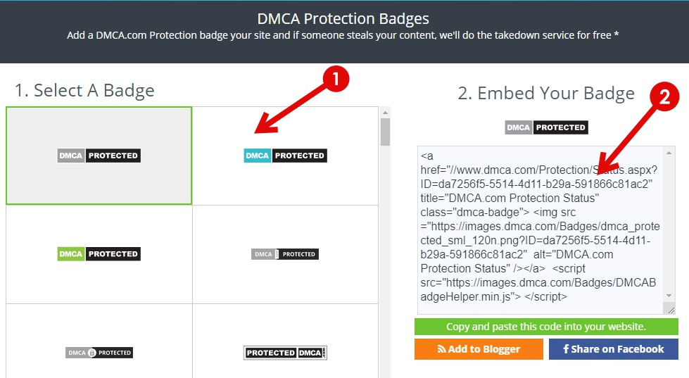 DMCA Badge Code