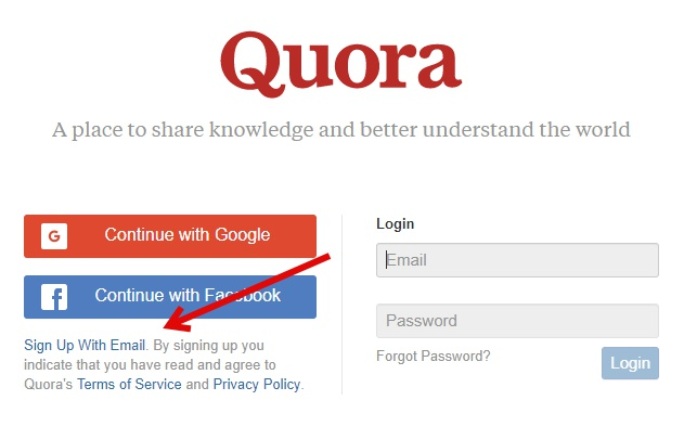 Sign up on Quora
