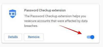 On Off Password checkup extension