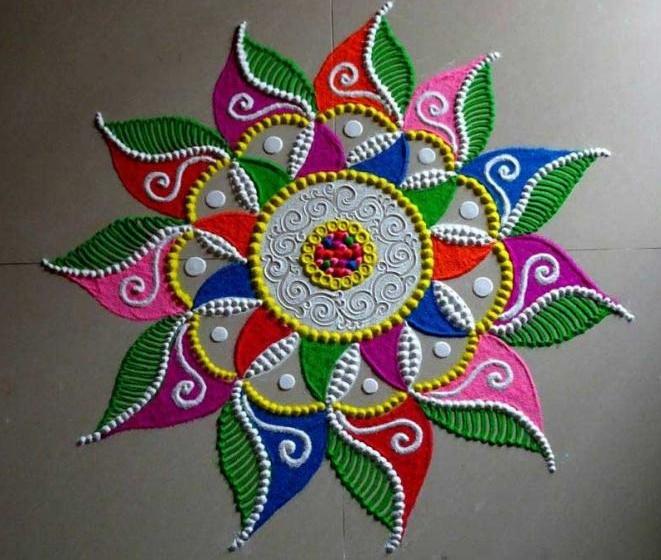 Colorful rangoli design for diwali