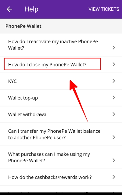 How to close my phonepe wallet