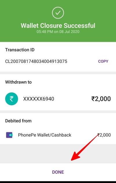 wallet closure successful